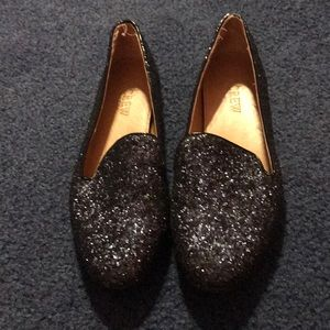 Navy sparkle loafers